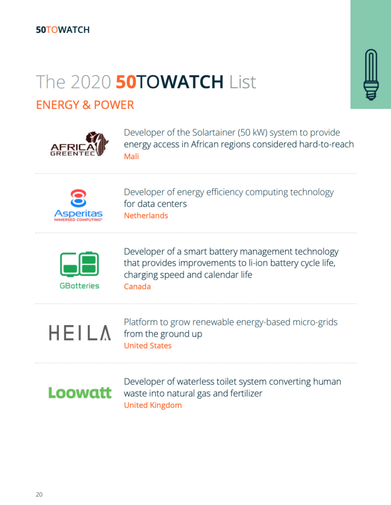 cleantech group, 50 to watch report